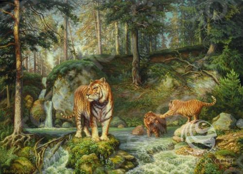 """Купить Наборы для вышивания Гобелен Классик Набор для вышивания крестиком Гобелен Классик  """"Тигры в лесу """" онлайн за..."""