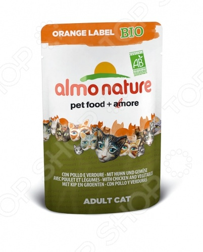 купить Корм влажный для кошек Almo Nature Orange Label Bio Adult with Chicken and Vegetables онлайн доставка